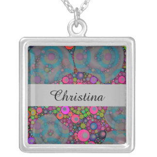 Psychedelic Floating Bubbles Silver Plated Necklace