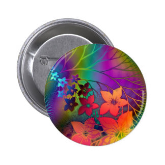 Psychedelic Floral Pinback Button