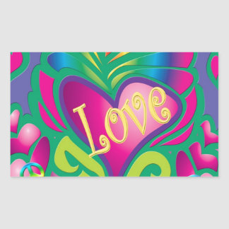 Psychedelic Floral Heart Rectangular Sticker