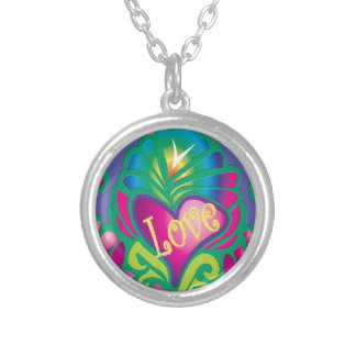 Psychedelic Floral Heart Silver Plated Necklace