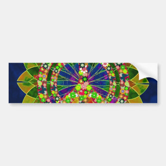 Psychedelic Floral Kaleidoscope Peace Sign Car Bumper Sticker