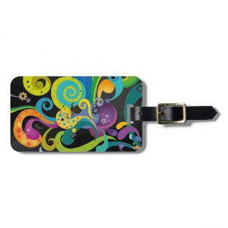 Psychedelic Floral Luggage Tag
