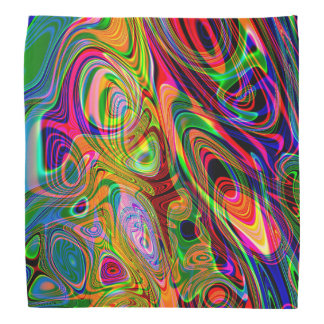 Psychedelic Florescent Abstract Twirls Bandana