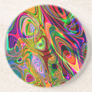 Psychedelic Florescent Abstract Twirls Drink Coaster