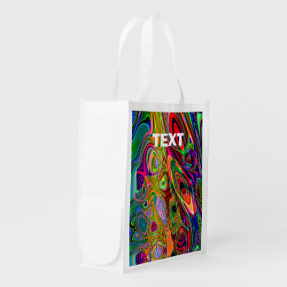 Psychedelic Florescent Abstract Twirls Grocery Bag