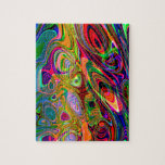 "Psychedelic Florescent Abstract Twirls Jigsaw Puzzle<br><div class=""desc"">Puzzle</div>"