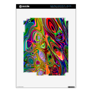 Psychedelic Florescent Abstract Twirls Skins For iPad 3