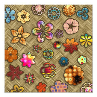 psychedelic flower basket weave photo print