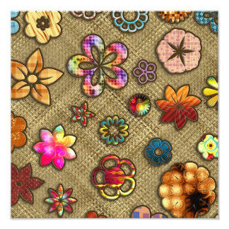 psychedelic flower basket weave photographic print