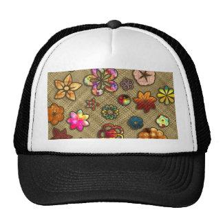 psychedelic flower basket weave trucker hat
