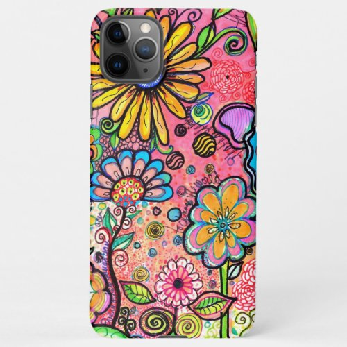 Psychedelic Flower Drawing iPhone 11Pro Max Case