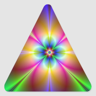 Psychedelic flower fractal triangle sticker