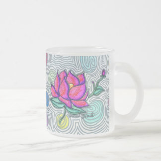 Psychedelic Flower 10 Oz Frosted Glass Coffee Mug