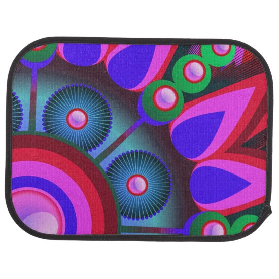 Psychedelic Flower Power Art Car Mat