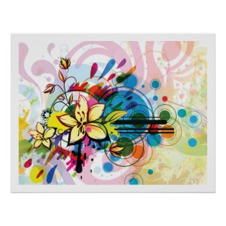psychedelic flowers abstract poster FROM 14.95 print