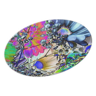 Psychedelic Flowers-Colorful Plate