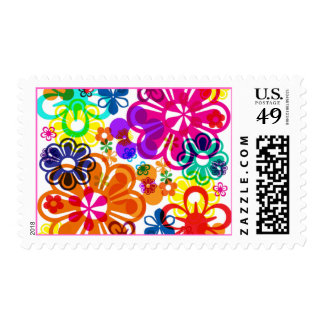 Psychedelic Flowers Postage