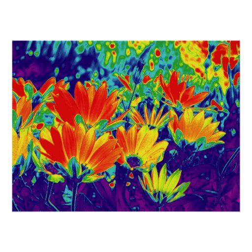 Psychedelic Flowers Poster