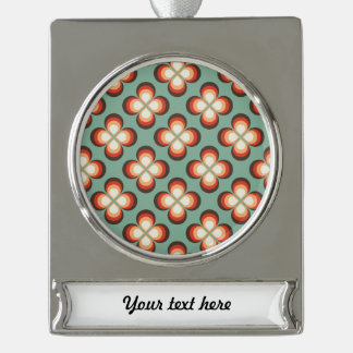 Psychedelic flowers silver plated banner ornament