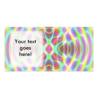 Psychedelic Fluorescent Neon Mandala Custom Photo Card