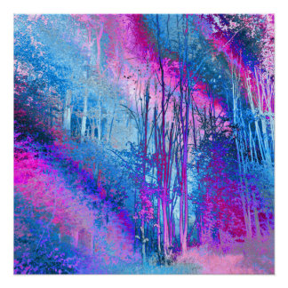 Psychedelic Forest (hot pink-sky blue) Poster