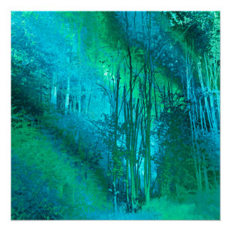 Psychedelic Forest (turquoise-spring green) Poster