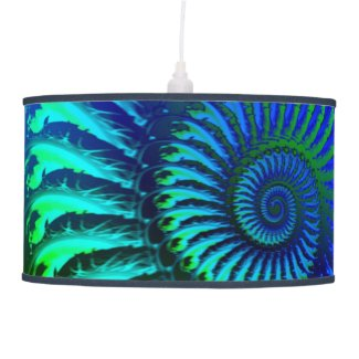 Psychedelic Fractal Blue Pattern Ceiling Lamp