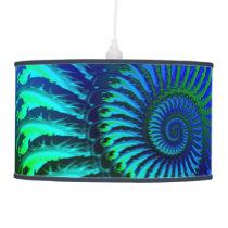 Psychedelic Fractal Blue Pattern Ceiling Lamp