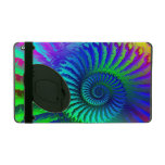 Psychedelic Fractal Blue Pattern iPad Cover