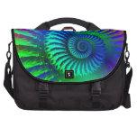 Psychedelic Fractal Blue Pattern Laptop Commuter Bag