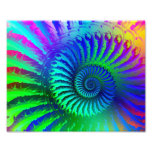 Psychedelic Fractal Blue Pattern Photographic Print