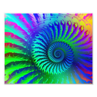 Psychedelic Fractal Blue Pattern Photo Print