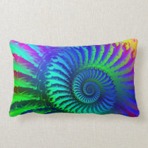 Psychedelic Fractal Blue Pattern Pillow