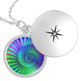 Psychedelic Fractal Blue Pattern Round Locket Necklace