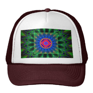 Psychedelic Fractal Flame Red Green Blue Trucker Hat