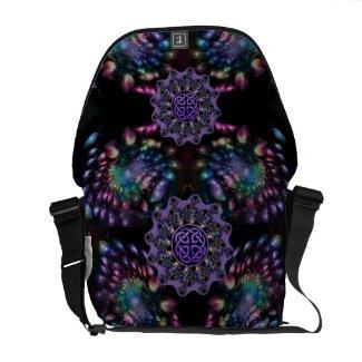 Psychedelic Fractal Flower Mandala Messenger Bag
