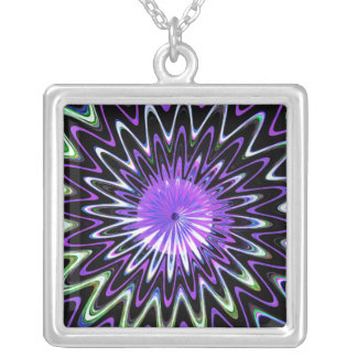 Psychedelic Fractal Spiral Decorative Abstract Art Square Pendant Necklace