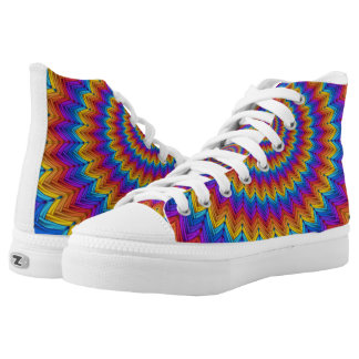 Psychedelic Fractal Spiral High Top Shoes Printed Shoes