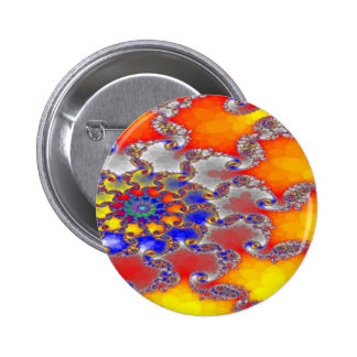 Psychedelic Fractal Swirl Design in Brilliant colo 2 Inch Round Button