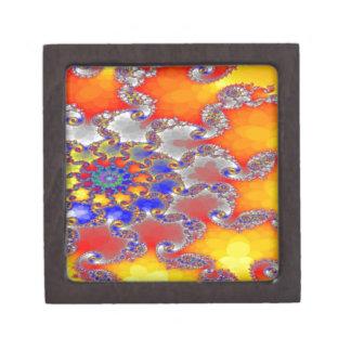 Psychedelic Fractal Swirl Design in Brilliant colo Keepsake Box