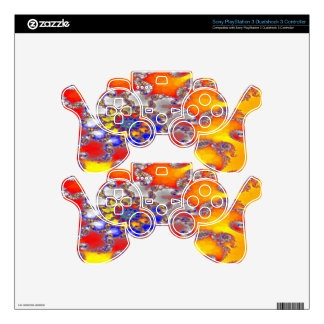 Psychedelic Fractal Swirl Design in Brilliant colo PS3 Controller Skin