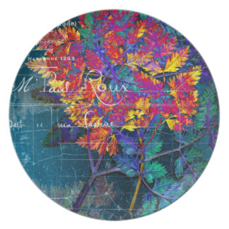 Psychedelic French Grunge Fern Dinner Plate