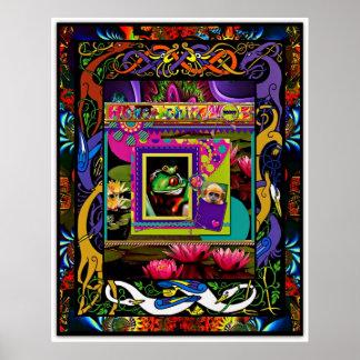 Psychedelic Frog Poster (With bonus monkey pocket)