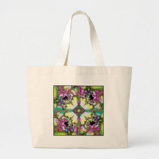 psychedelic garden large tote bag