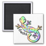 Psychedelic Gecko 2 Inch Square Magnet