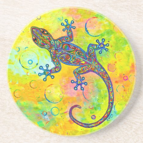 Psychedelic Gecko Lizard Round Stone Coaster