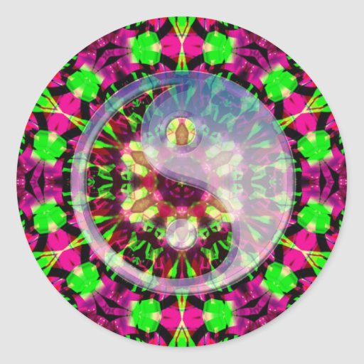 Psychedelic Geometric Yin Yang Sticker