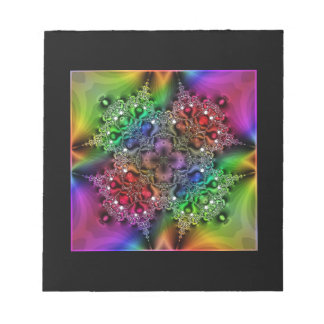 Psychedelic Glitter Jewel 4-Leaf Clover Notepad