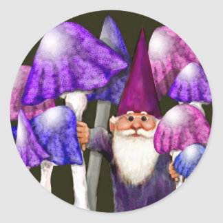 Psychedelic Gnome with Mushrooms Classic Round Sticker