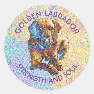 Psychedelic Golden Labrador Retriever Classic Round Sticker